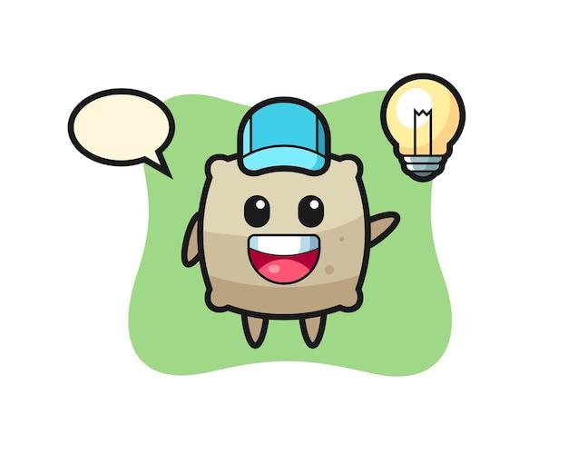 Caricatura de personaje de saco obteniendo la idea, diseño de estilo lindo para camiseta, pegatina, elemento de logotipo