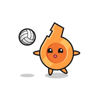 Caricatura de personaje de silbato está jugando voleibol, diseño lindo