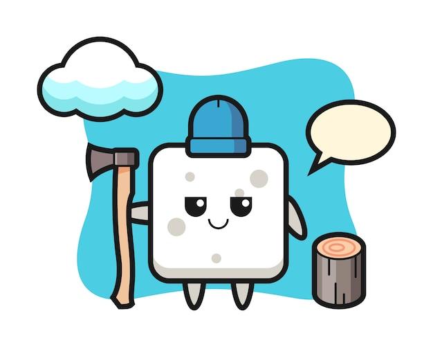 Caricatura de personaje de terrón de azúcar como leñador, estilo lindo para camiseta, pegatina, elemento de logotipo