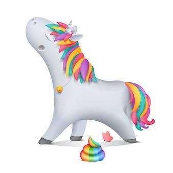 Caricatura va personaje de unicornio con campana. caca arcoiris