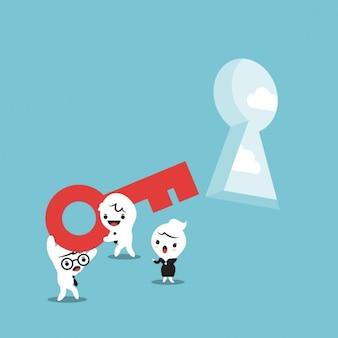 Caricatura de personas de negocios con una llave