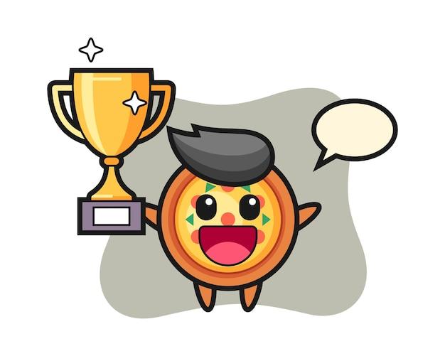 Caricatura de pizza es feliz sosteniendo el trofeo de oro