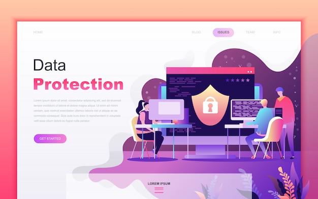 Caricatura plana moderna de protección de datos