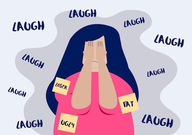 Caricatura plana de mujer víctima de acoso escolar que sufre de censura pública por su peso