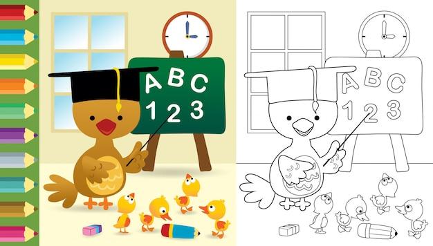 Caricatura de pollo gracioso con cachorros de pato en el aula