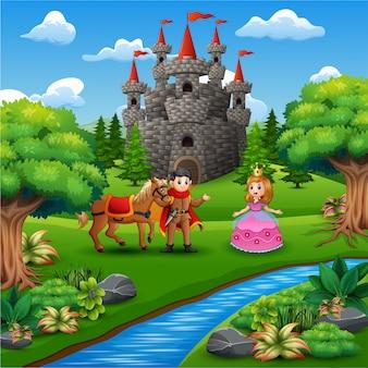Caricatura de princesa y príncipe pareja en la página del castillo.