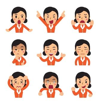 Caricatura que enfrenta una empresaria mostrando diferentes emociones.