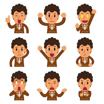 Caricatura que enfrenta un empresario mostrando diferentes emociones.