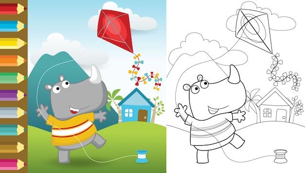 Caricatura de rinoceronte divertido jugando cometa sobre fondo escénico rural