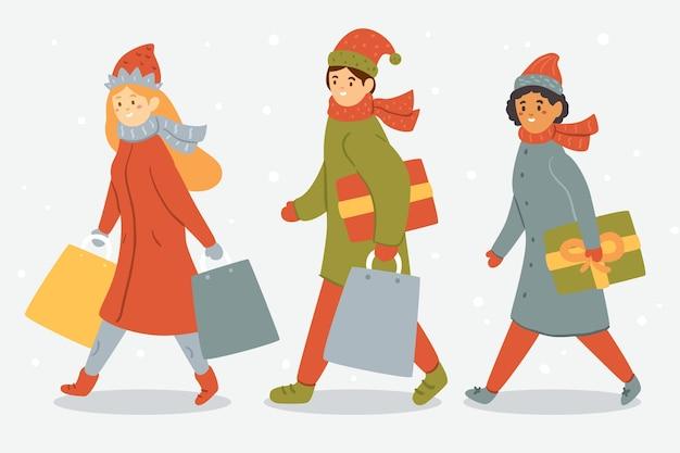 Caricatura con ropa de invierno y bolsas de regalo