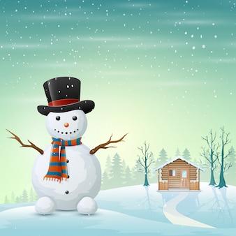 Caricatura de un saludo muñeco de nieve y un pueblo nevado
