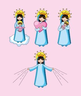Caricatura de santa virgen maría