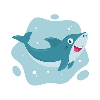 Caricatura sonriente bebé tiburón