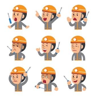 Caricatura de un técnico que muestra diferentes emociones.