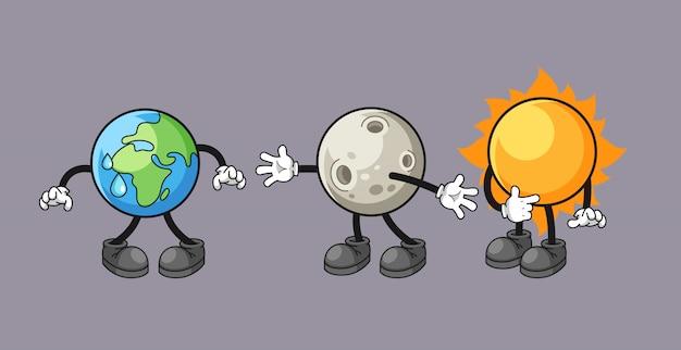 Caricatura de la tierra, la luna y el sol, con la ilustración del concepto de eclipse