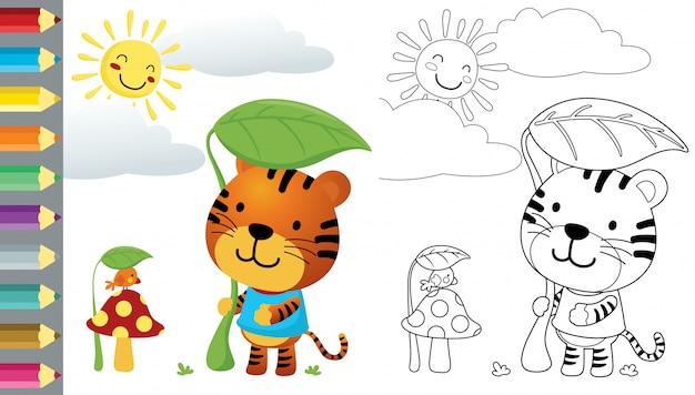 Caricatura de tigre gracioso y pajarito escondiéndose del sol abrasador con hojas