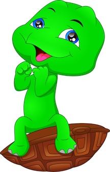 Caricatura, tortuga verde