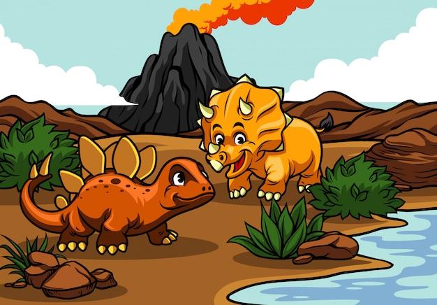 Caricatura de triceratops y estegosaurios en la naturaleza