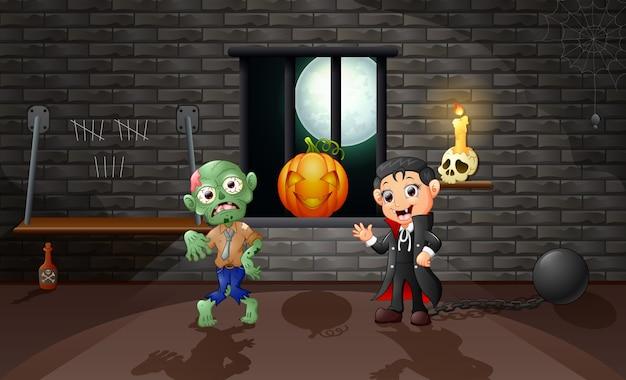 Caricatura de vampiro y zombie en la casa.