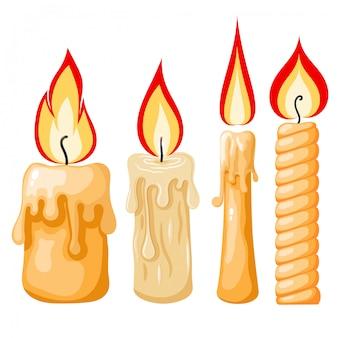 Caricatura de una vela. conjunto de velas amarillas con llamas en estilo de dibujos animados.