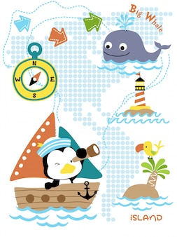Caricatura de viaje en velero con divertido marinero.