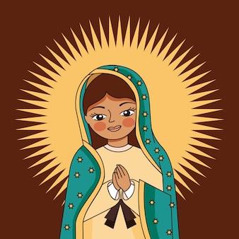 Caricatura de la virgen de guadalupe con halo sobre marrón