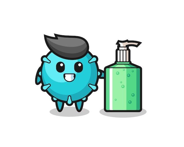 Caricatura de virus lindo con desinfectante de manos, diseño de estilo lindo para camiseta, pegatina, elemento de logotipo