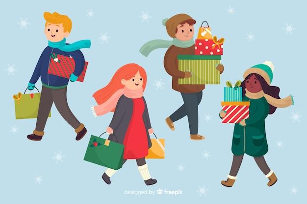 Caricatura vistiendo ropa de invierno y llevando regalos