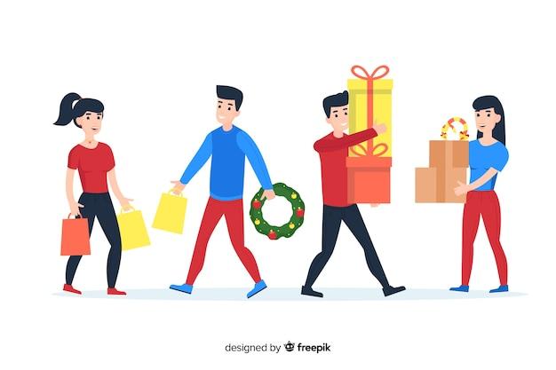 Caricatura vistiendo ropa de invierno y sosteniendo regalos y coronas