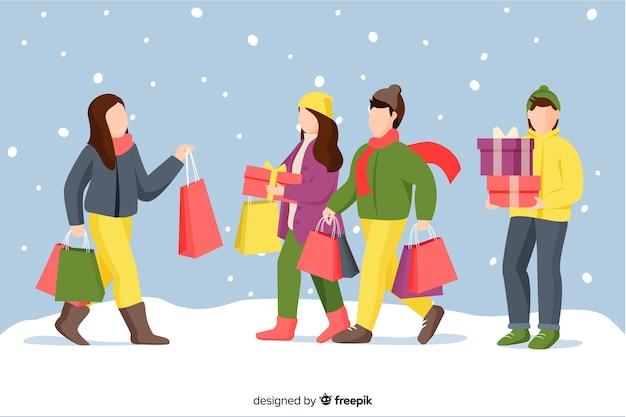 Caricatura vistiendo ropa de invierno y sosteniendo regalos en la nieve.