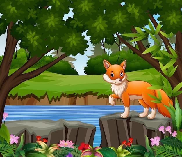 Una caricatura de zorro jugando en el parque