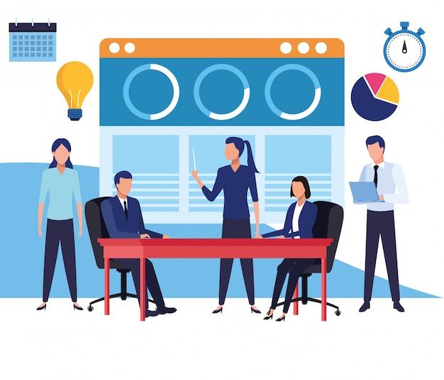 Caricaturas de compañeros de trabajo de negocios