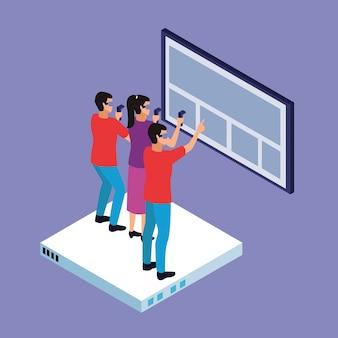 Caricaturas de realidad virtual y amigos.