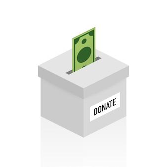 Caridad, concepto de donación. done dinero con caja negocios, finanzas