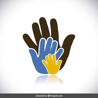 Caridad manos vector gratuito