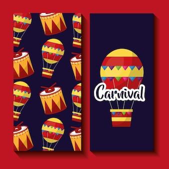 Carnaval, bandera, aire, globo, tambor, fiesta, celebración