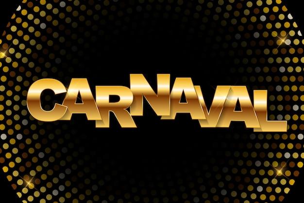Carnaval bandera dorada. ilustración