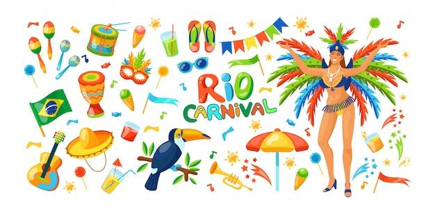 Carnaval de brasil hermosa fiesta de celebración o disfraces en máscaras.
