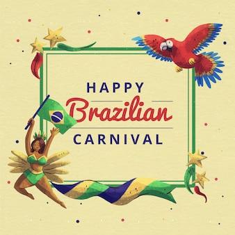 Carnaval brasileño en acuarela con loro