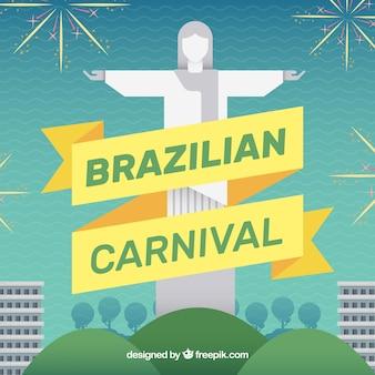 Carnaval brasileño con cristo redentor