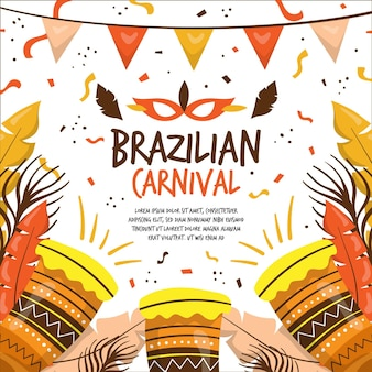 Carnaval brasileño dibujado a mano con tambores