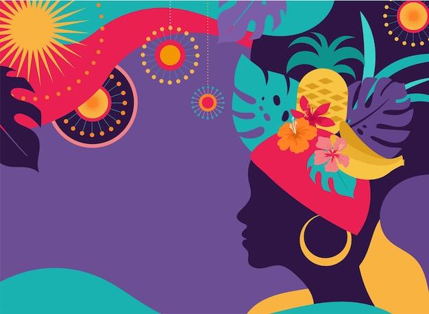 Carnaval brasileño, festival de música, ilustración de mascarada.
