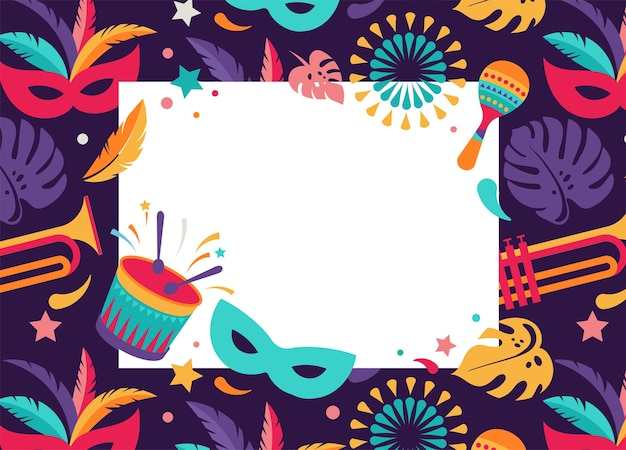 Carnaval brasileño, festival de música, tarjeta en blanco de mascarada