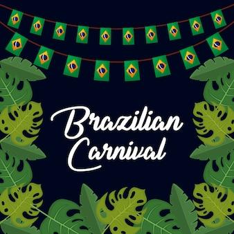 Carnaval brasileño con guirnaldas y hojas.