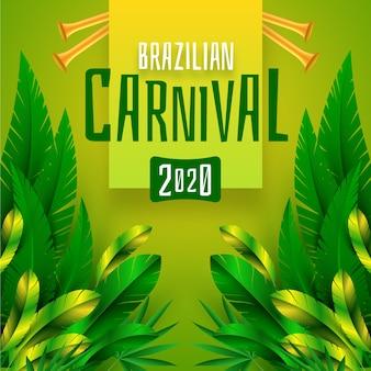 Carnaval brasileño realista con follaje exótico