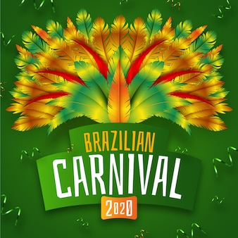 Carnaval brasileño realista con tema de pavo real