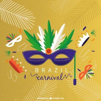 Carnaval de brazil de antifaz con plumas dibujado a mano