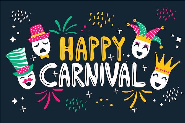 Carnaval dibujado a mano con cuervos y emociones humanas.