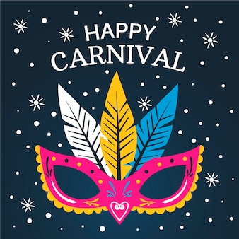 Carnaval dibujado a mano con máscara colorida y estrellas