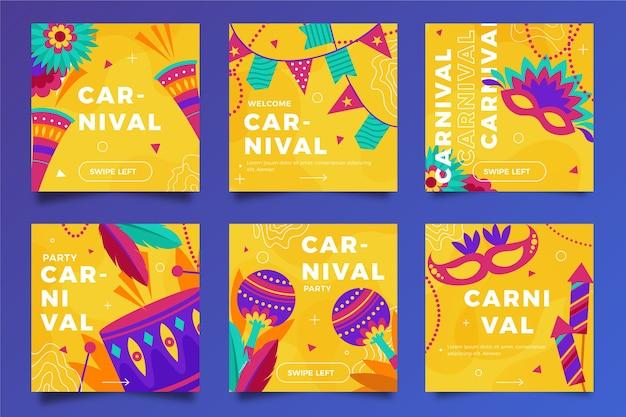 Carnaval fiesta instagram post colección